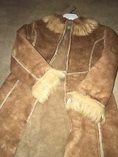 Rabbit Fur Trimmed Faux Sheepskin Coat By Les Parrot Ines Age 7 Stunning So Soft