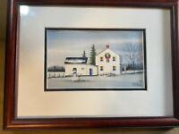 "Cece Tucker 1985 ""Winter Home And Landscape Scene"" WC Scene - Signed/Framed"