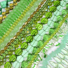 100 Mixed Glass Beads Strings Green Colours Many Shapes and sizes WHOLESALE