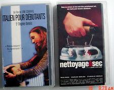 2 CASSETTES VHS EN FRANÇAIS, DE 2000 ITALIEN POUR DÉBUTANTS + NETTOYAGE À SEC