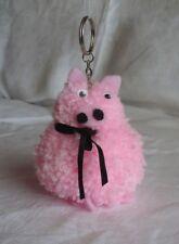 Keyring  Gift Pink Pig Pom Pom Fur Ball Handbag Racksack Charm Cute
