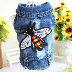 Small Dog Cat Coat Puppy Jacket Honeybee Embroidered Cowboy Vest Pet Clothes New