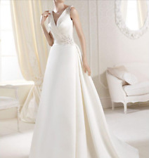 New White/Ivory Satin Wedding Dress V Neck Chapel Train