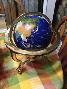 Lapis & Brass Gemstone World Globe