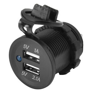 Blue Led Dual USB Power Charger Adapter Socket Outlet 3.1A for Car Boat Truck