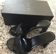 """Authentic GUCCI Logo Slide-On 3.5"""" Heels w/ Box, Size 36 (Equiv. Size 6-7)"""
