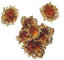 Vintage Signed BOUCHER # Rootbeer Molded ART GLASS Brooch & Clip Earrings SET