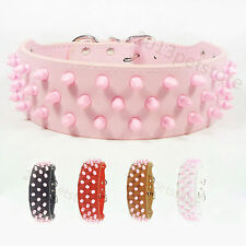 pet collars leather Pink large dog collar bully necklace boxer spiked pitbull