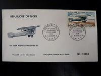 NIGER  AERIEN 84   PREMIER JOUR FDC     AVION BIPLAN POTEZ 25       80F    1968