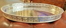 VERY Large vintage Sheffield silver plate on copper galleried drink tray
