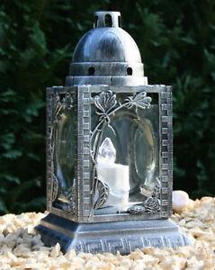 Grablaterne Grablampe Grabschmuck Silber Grableuchte + LED Grablicht + Batterien