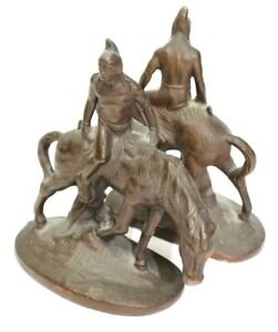 Pair Vintage Bookends Indian Brave On Horses Bronzed Cast Iron Circa 1920's