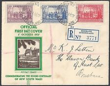 Australia 1937 Registered Air Mail Fdc Brisbane Queensland Official Cover