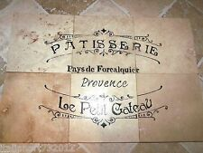 "French Country Script Bakery Shop Backsplash 100% Travertine Tiles 24"" x 24"""