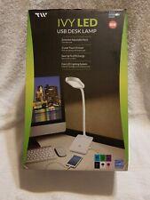 White LED Desk Lamp, Built-in USB Port, 3 Level Touch Dimmer, Adjustable Neck