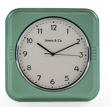 Reloj de Pared Vintage Estilo Retro Cuadrado Verde Diner de 32 X 32 X 5.8 Cm