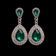 Women Luxury Waterdrop Wedding Earrings Drop Dangle Rhinestone Crystal Jewelry
