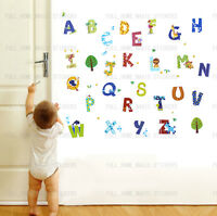 52pcs Zoo Animal Alphabet Wall Sticker Decal Child Kid Nursery Baby Room Decor