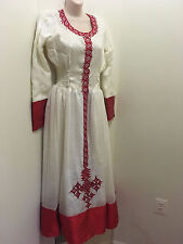 Traditional embroidered Ethiopian Habesha dress 2 piece 100% cotton-Red classic