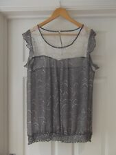 M&Co Summer Top Grey/White Sheer Spotty Print Lace Neck Line Zip Back UK Size 20