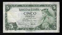 Spain P-146 5 Pesetas 1954 King Alfonso Circulated Banknote