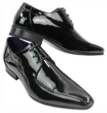 Mens Black Brown Patent Shiny Leather Shoes Italian Design Laced Smart Party Off