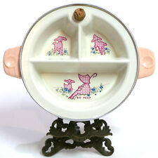 Adorable! Vintage Excello Baby Food Warmer Divided Dish Bo Peep with Cover