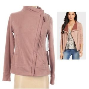 Anthropologie Marrakech Hannah Pink Moto Jacket Suede Size X-Small XS