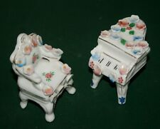 PAIR OF VINTAGE OCCUPIED JAPAN PORCELAIN MINIATURE GRAND PIANO & CHAIR FIGURINES
