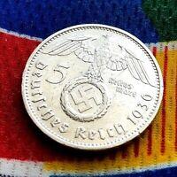 1936 F 5 Mark German WW2 Silver Coin Third Reich Swastika Reichsmark