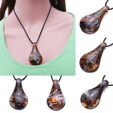 Vintage Murano Lampwork Glass Waterdrop Pendant Necklace Women Charm Jewelry