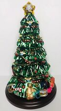 """NEW Thomas Pacconi Blown Glass Table Top Christmas Tree on Wooden Base 16"""" 2003"""