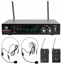 Rockville RWM80U UHF (2) Headset & Guitar Microphone For Church Sound Systems
