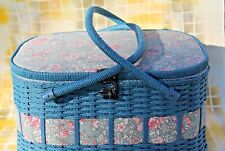 Retro Sewing Notions Floral Storage Wicker Blue Basket with Handles, Lined