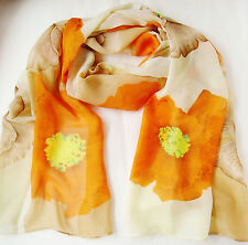 Beige Orange Cream Floral Chiffon Scarf 20x60 in. FREE SHIP