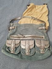 ghurka leather Hobo Purse Blue Suede Pewter Metallic Leather 3 Pockets