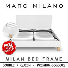 New Queen Double Size Bed Frame Luxury PU Leather Grey White or Black Fabric
