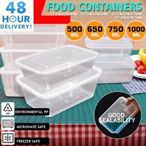 Clear Plastic Quality Containers Tubs with Lids Microwave Food Safe Takeaway