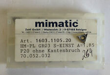 9 INDEXABLE INSERTS hm-pl sz. 03 s-einst A=1,85 P20 70.052.032 Mimatic T828