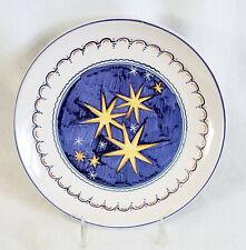 "Ceramic Plate, 9 1/2"" Blue Gold Stars, Castelli Simonetti"