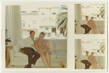 Vintage 70s PHOTO Couple Sitting On Couch Together w/ Pair Bonus Wallet Pics