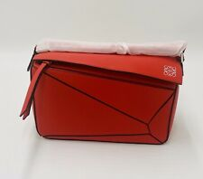 Loewe Small Puzzle Bag Red, Authenticated, New With Dustbag And Box