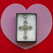 BEAUTIFUL 925 SILVER & BRONZE CROSS WITH AMETHYST & WHITE TOPAZ 8.5 GR.7X4.5 CM.