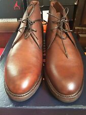 $895 Polo Ralph Lauren Brown Maury Leather Italy Made Mid Ankle Chukka Boot 12
