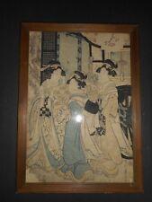 A KIKUGAWA YEIZAN WOOD BLOCK PRINT W/ ORIGINAL VICKEREY ATKINS & TORREY FRAME 1