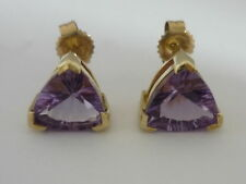 Large Brazilian Amethyst 9K Gold Earrings - Cased - Brand New