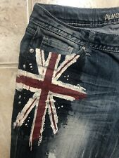 Almost Famous Jeans Painted Red White Blue Distressed Whisker Women's Size 5/6