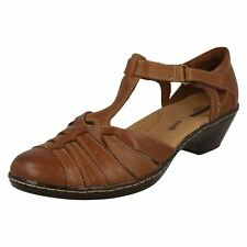 Ladies Clarks Wedge T-bar Closed Toe Sandal Shoes Wendy Alto Tan Leather UK 6 D