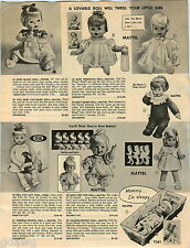 1967 PAPER AD Doll Mattel Ideal Pattaburp Teenietalk Lucy Drowsy First Step Posi