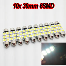 10x 39MM NUMBER PLATE INTERIOR LIGHT FESTOON BULB 6 LED 5050 WHITE 239 c5w